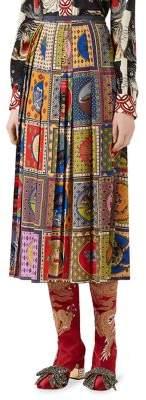 Pleated Tarot Card Silk Skirt