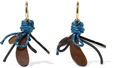 Marni Marni - Gold-plated, Horn And Cord Earrings - Blue