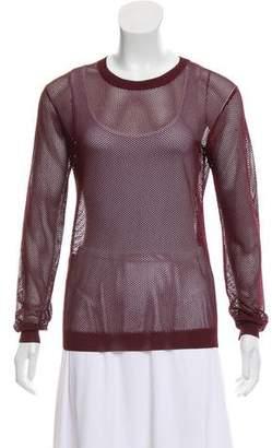 Prada Open Knit Crew Neck Sweater