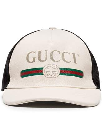 Gucci Logo-Print Leather And Mesh Baseball Cap