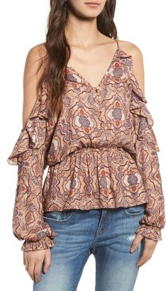 Women's Sun & Shadow Ruffle Cold Shoulder Top $59 thestylecure.com