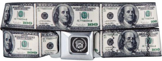 BUCKLE-DOWN Caddie 100 Dollar Bill Buckle Belt