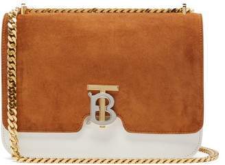 Burberry Tb Monogram Suede And Leather Cross Body Bag - Womens - Tan White