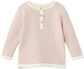 MANGO Newborn Girls Knitted Stripe Jumper - Strawberry