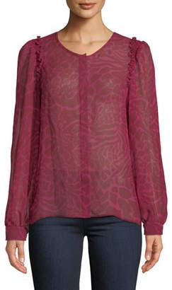 Paige Ambrosine Animal-Print Button-Front Silk Top