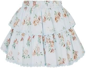 LoveShackFancy Love Shack Fancy Tiered Floral Mini Skirt