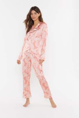 Nasty Gal Womens Feeling Slazy Satin Paisley Pajama Set - Orange - 6, Orange