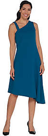 Halston H by Petite One Shoulder AsymmetricHem Midi Dress