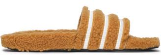 adidas Striped Faux Shearling Slides