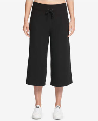 DKNY Sport Wide-Leg Cropped Logo Pants
