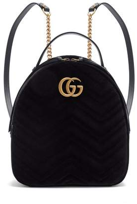 Gucci Gg Marmont Velvet Backpack - Womens - Black 9f299cc0721d6