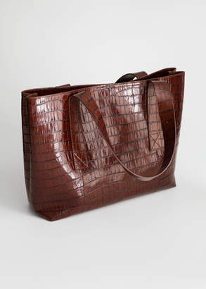 And other stories Crocodile Embossed Leather Tote Bag