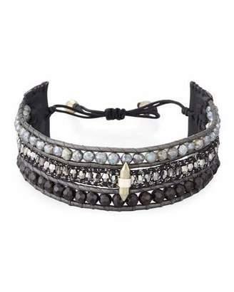 Chan Luu Three-Strand Pull-Tie Bracelet in Onyx & Mystic Labradorite
