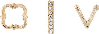 Ettika Set of 3 Gold-Tone Embellished Earrings Set