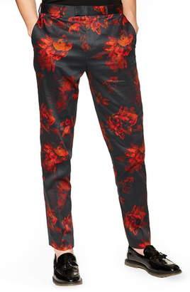Topman Slim Fit Floral Suit Pants