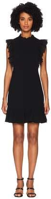Rebecca Taylor Sleeveless Crepe Lace Dress Women's Dress