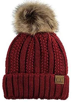 aeb02b54c95 Shadana s Colletion CC Quality Women s Faux Fur Pom Pom Fuzzy Fleece Lined  Slouchy Skull Thick Cable
