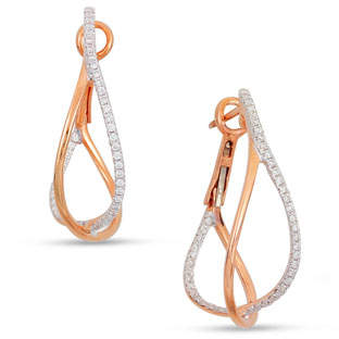 Frederic Sage Diamond Crossover Hoop Earrings