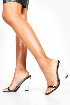 boohoo Clear Strap And Wedge Heels