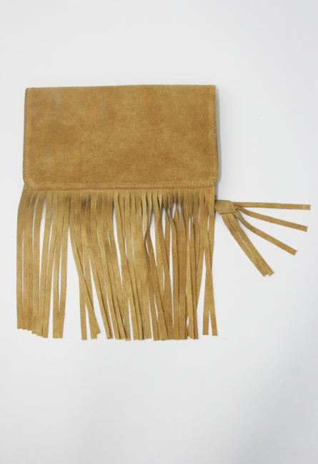 Kettle Black Fringe Folding Clutch in Tan Suede