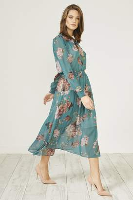 Urban Touch Dark Green Floral Print Long Sleeve Midi Dress