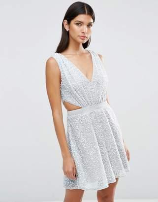 Asos DESIGN Embellished Side Cut Out Mini Dress
