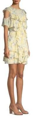 Rebecca Taylor Open Shoulder Lemon Rose Dress