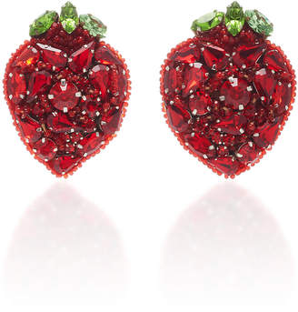 Deepa Gurnani Strawberry Clip Earrings