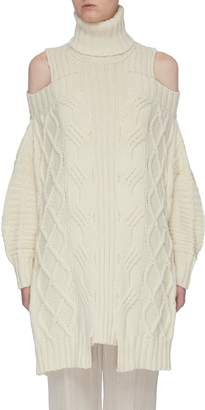 Monse Cold shoulder fisherman wool turtleneck sweater