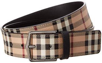 Burberry Haymarket Check & Leather Belt