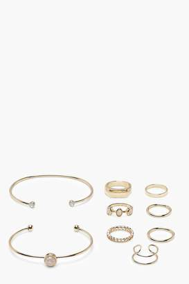 boohoo Ring and Arm Cuff 9 Pack Set