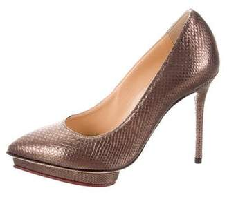 Charlotte Olympia Embossed Leather Pointed-Toe Pumps