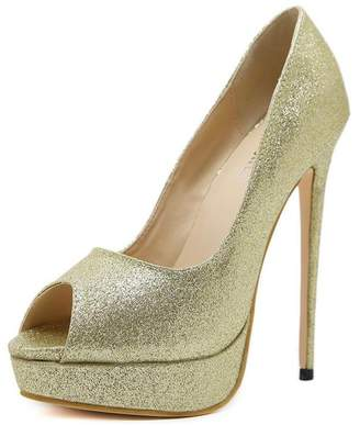 Hanglin Trade Platform Pump High Heels Peep Toe Pump for Party Prom Party,Evening Shoes