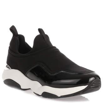 Salvatore Ferragamo Giolly black fabric and patent leather sneaker