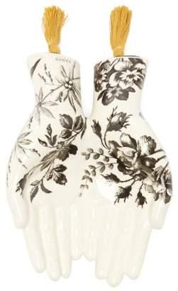 Gucci Floral Print Porcelain Tray - Black White