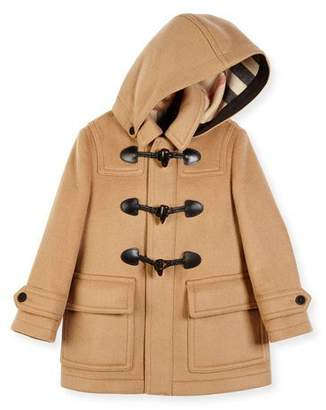 Burberry Burwood Hooded Wool Toggle Coat, New Camel, Size 4-14 $525 thestylecure.com