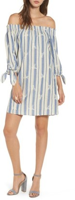 Women's Everyly Tie Sleeve Off The Shoulder Shift Dress $49 thestylecure.com