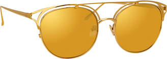 Linda Farrow Mirrored Titanium Cutout Round Sunglasses