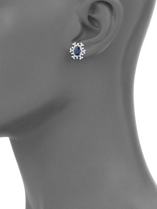 Hueb 18K White Gold Sapphire & Diamond Starburst Earrings