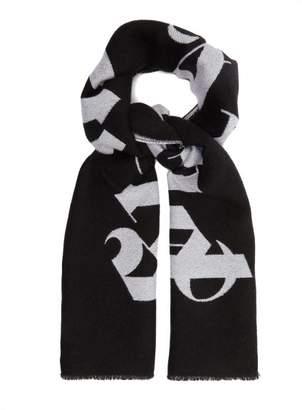 1f56e3279ef5a Palm Angels Logo Jacquard Wool Scarf - Mens - Black