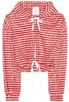 Hoodie crinkle-gingham cropped jacket