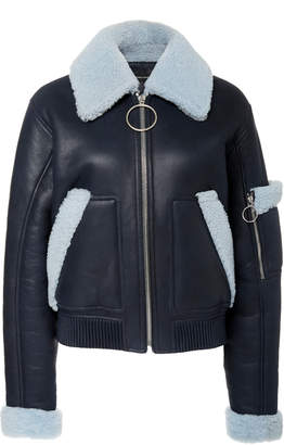 Cédric Charlier Collared Faux Leather Moto Bomber Jacket