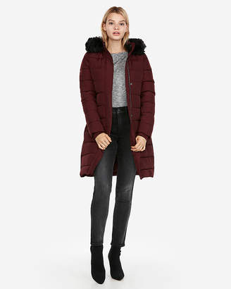 Express Long Belted Puffer Jacket