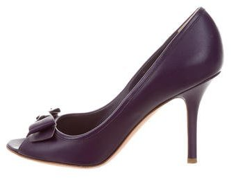 Christian Dior Peep-Toe Bow Pumps