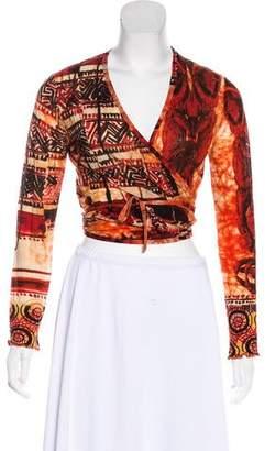 Jean Paul Gaultier Soleil Printed Long Sleeve Crop Top