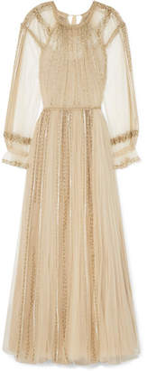 Valentino Pleated Sequined Tulle Gown - Beige