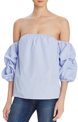 AQUA Stripe Off the Shoulder Ruffle Sleeve Top - 100% Exclusive $58 thestylecure.com