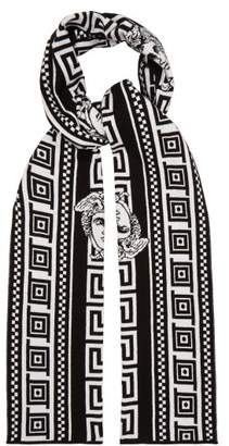 Versace Medusa Intarsia Cotton Blend Scarf - Mens - Multi