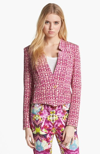 Rachel Roy 'Abstract Geo' Crop Silk Blazer 0