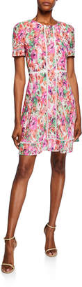 Maggy London Floral Eyelet Short Sleeve A-Line Dress